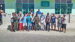 Dipimpin Danpos Totikum, Unsur TNI,Polri dan Masyarakat Lobuton Gelar Kerja Bakti