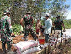 Satgas TMMD Gresik Giat Pengisian Batu Bronjong Talud Sungai Tretek