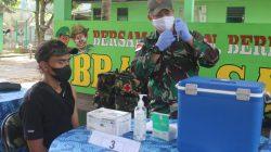Satgas Yonif 131 Gelar Vaksin Covid-19 Untuk Masyarakat di Perbatasan